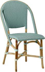 Chaise Sofie-Tressage vert d'eau avec points blancs