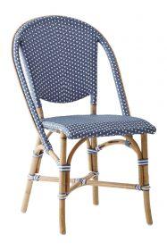 Chaise Sofie Tressage bleu Navy avec points blancs
