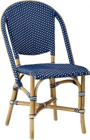 Chaise Sofie-Tressage bleu Navy avec points blancs