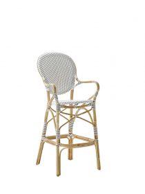 Tabouret de bar Isabelle Tressage blanc avec points cappuccino