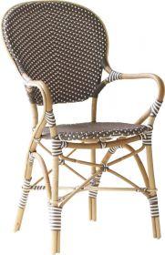 fauteuil repas Isabelle-Tressage cappuccino avec points blancs