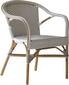 Fauteuil Madeleine-Tressage blanc avec points cappuccino